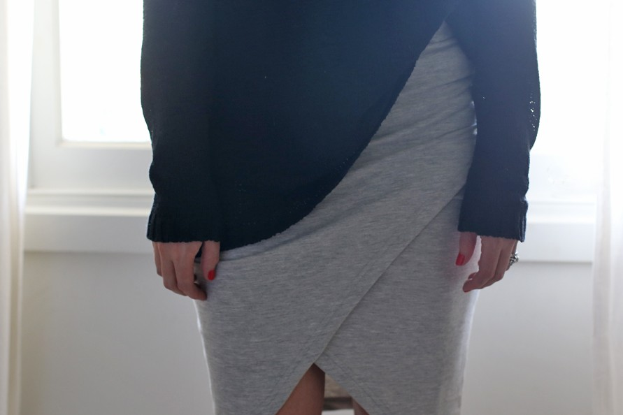 erin maxwell, loveshopshare, grey skirt, i like wolves knit, market hq, zara booties