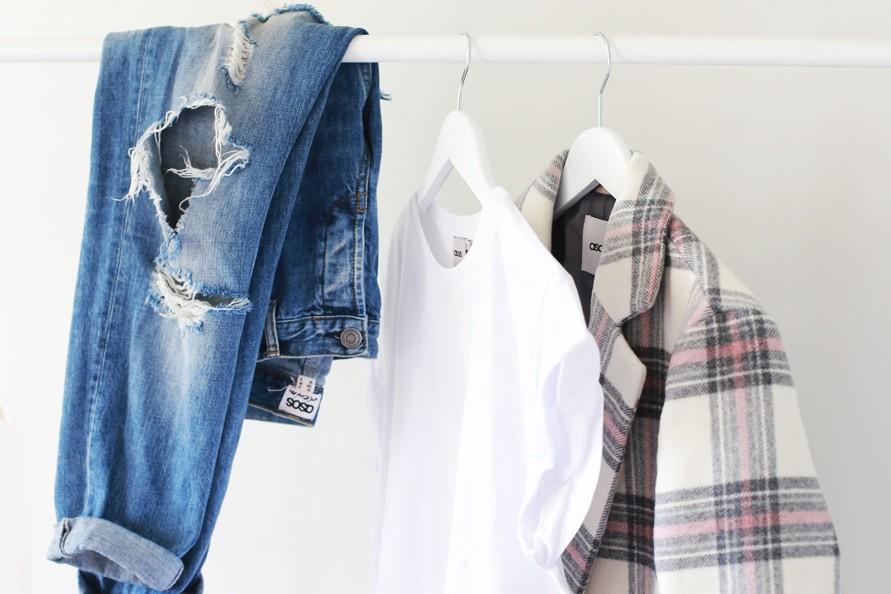 asos, check coat, white tee, ripped jeans, melbourne fashion blog, australian blogger