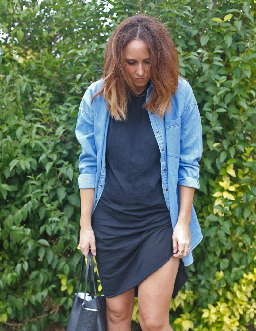 bassike tshirt dress,bassike,zara denim shirt,birkenstocks,melbourne fashion blog,streetstyle, givenchy tote