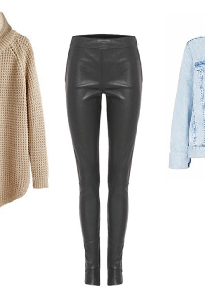 topshop denim, jacket, hope knitwear, tony bianco, leather pants