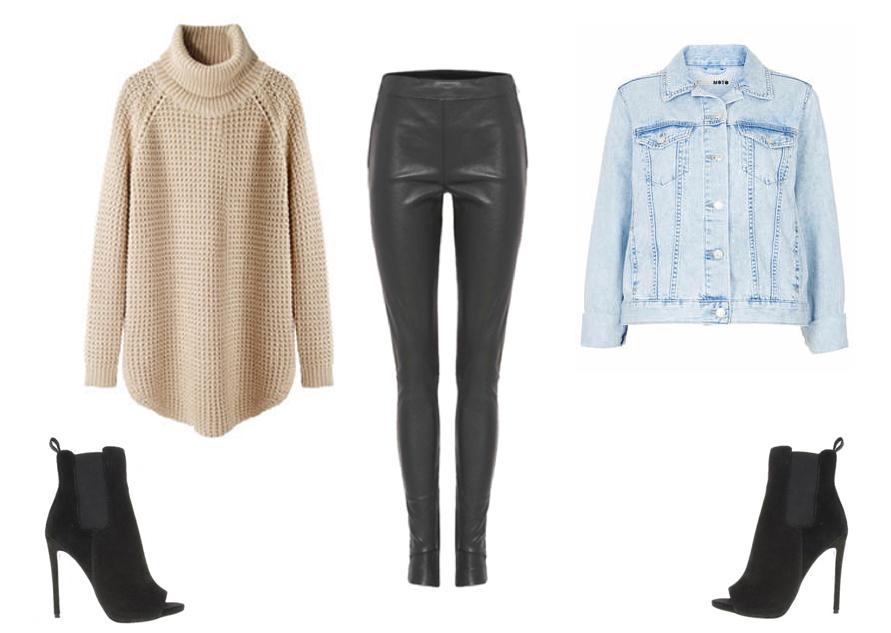 topshop denim, jacket, hope knitwear, tony bianco, leather pants