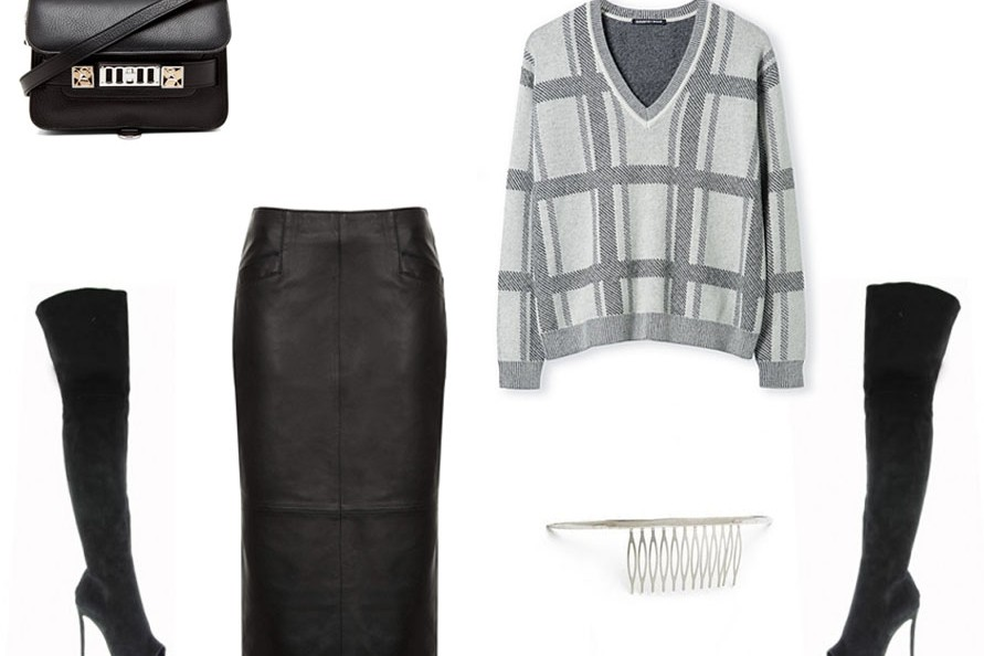 shopbop, christine centenera, leather skirt, check knit, plaid knit, country road, proenza scholar bag, tony bianco, thigh high boots
