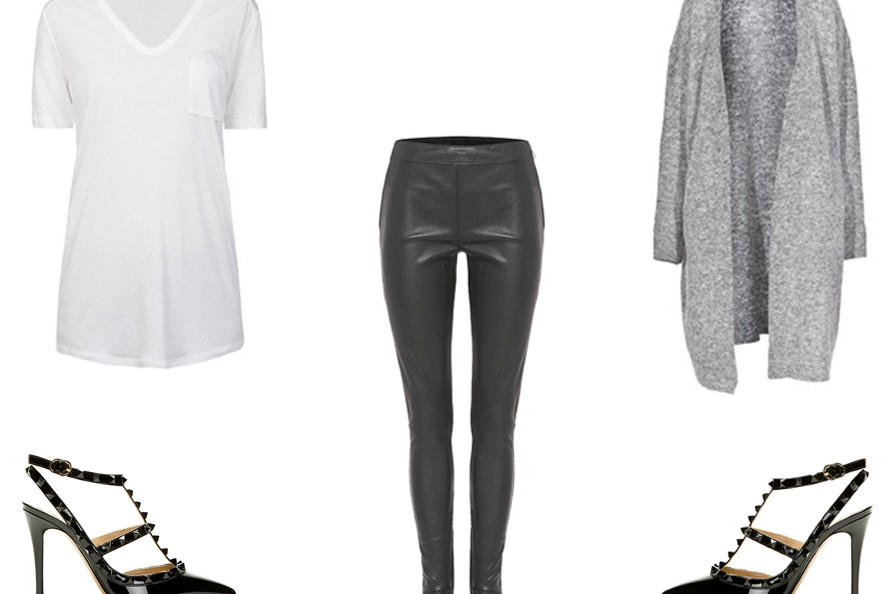 acne raya mohair, leather pants, valentino heels, rebecca vallance